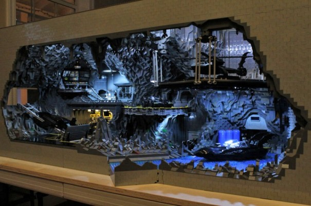 That said, two gentlemen Carlyle Livingston II and Wayne Hussey took the opposite approach and used more basic Lego blocks to come up with their vision of the Batcave. See the difference?